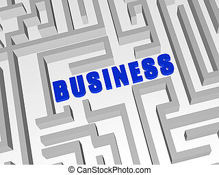blue business in labyrinth - 3d blue letters make word...
