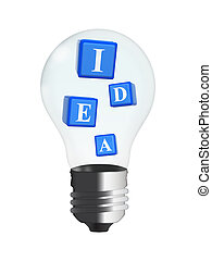 3d cubes - idea in bulb - 3d blue cubes with text idea in...