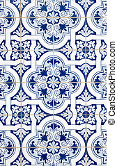 Portuguese glazed tiles - Detail of Portuguese glazed tiles.
