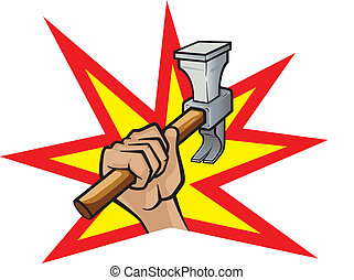 Hammer Down - Vector illustration of a hand with a hammer