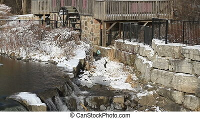 Old Water Grist Mill %u2013 Waterwheel - Motion Picture of...