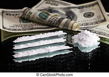 Cocaine drugs heap still life on a mirror with rolled 100...