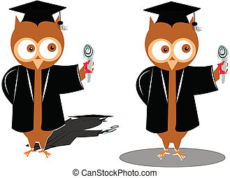 graduation owls - wise old owls graduating from school over...