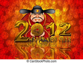 2012 Happy New Year Chinese Money God Illustration