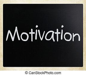 """Motivation"" handwritten with white chalk on a blackboard"