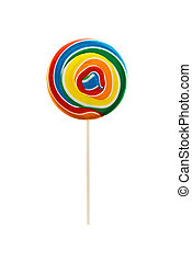 Multicolored bright delicious lolipop isolate on white