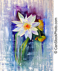 Water Lily painted with oil on cardboard.