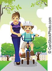 Mother teaching son biking