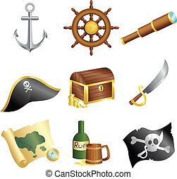 Pirates icons - A vector illustration of a collection of...