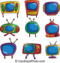 Television icons - A vector illustration of a set of...