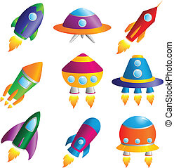 Rockets icons - A vector illustration of a collection of...