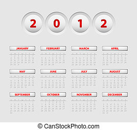 Vector button calendar 2012 - Vector button calendar for the...