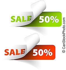 Vector Red and green sale coupons (50% discount)
