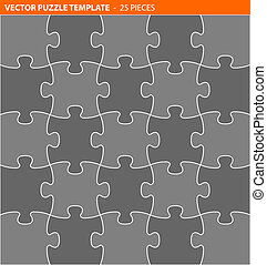 Complete vector puzzle jigsaw template - 25 pieces