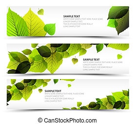 Vector Fresh spring horizontal banners with leafs and sample...