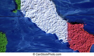 Italy map, zoom out - Italy map and flag, zoom out. Art...