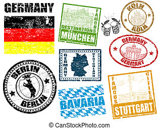 Stamps with Germany - Set of grunge stamps with Germany,...