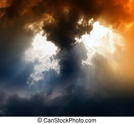 Armageddon - Apocalyptic background - dark clouds, bright...