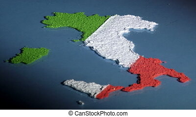 Italy map, low angle - Italy map and flag, low angle Art...