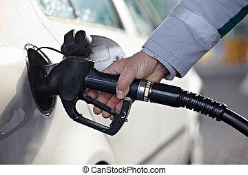 gas station petroleum handle nozzle