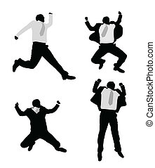 excited businessmen jump - vector