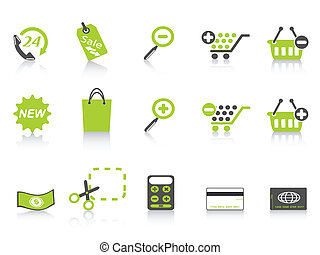 shopping icon green series - green simple style of shopping...