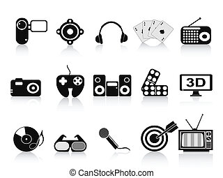 black home entertainment icons set