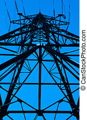 High power line viewed bottom - High power line, viewed at...