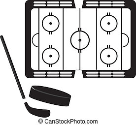 hockey pitch with hockey puck and stick silhouette. vector