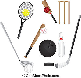 sports elements isolated over white background. vector