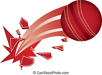 cricket - red cricket ball broken isolated vector...