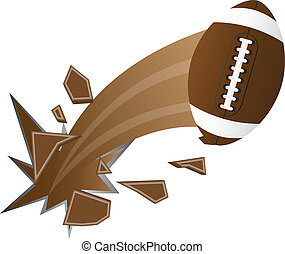 american football - brown american football broken isolated...