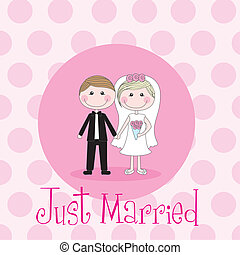 just married - cute husbands over pink circles vector...