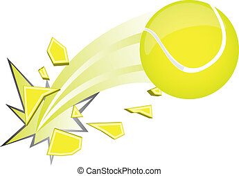 tennis ball - yellow tennis ball broken isolated over white...