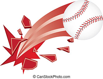 baseball vector - baseball ball broken isolated over white...
