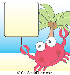 cute crab over cute landscape vector illustration