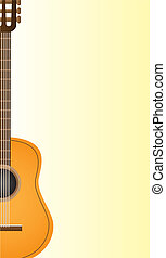 Classical acoustic guitar over yellow background. vector