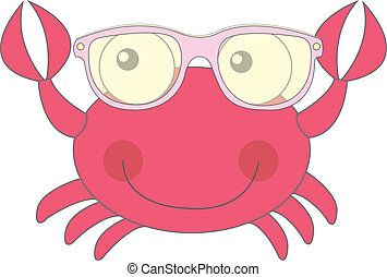 cute crab - red cute crab with sunglasses isolated vector...