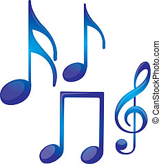 music notes - blue music notes isolated over white...
