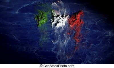 Italy map, time lapse - Italy map and flag, time lapse...