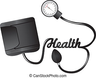sphygmomanometer - black sphygmomanometer with health text...