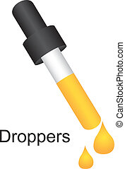 dropper witht yellow liquid over white background vector...