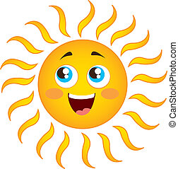 sun cartoon - happy sun cartoon isolated over white...