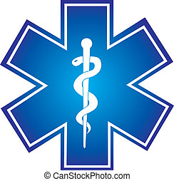 medical sign - blue medical sign with snake isolated vector...