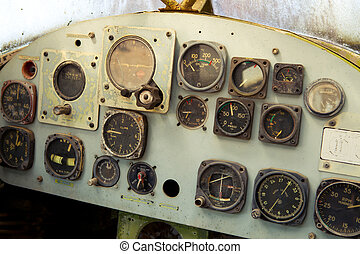 old airplane cockpit - Detail of a old airplane cockpit