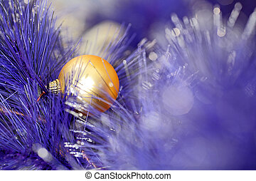 christmas ball on blue color christmas tree