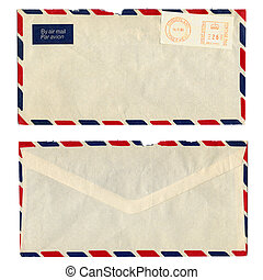 Airmail letter with UK postage meter stamp