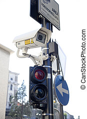 Traffic light with camera surveillance, Trieste