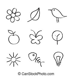 Nature Icons on White Background