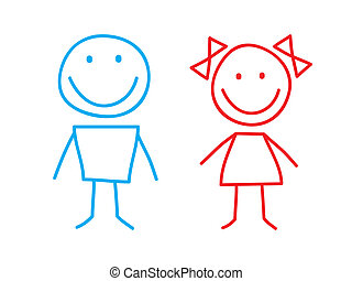 Girl and Boy - Simple Illustation of Girl and Boy